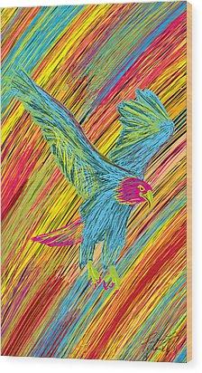 Furious Bold Bald Eagle Wood Print by Kenal Louis