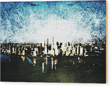 Wood Print featuring the digital art Future Skyline by Andrea Barbieri