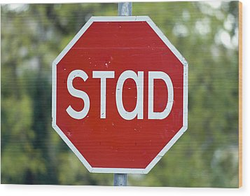 Gaelic Stop Sign Near Doocharry Wood Print by Rich Reid