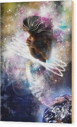 Gaia Genie Wood Print by Julie L Hoddinott