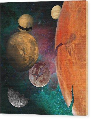 Galactic Junkyard Wood Print by Sarah McKoy
