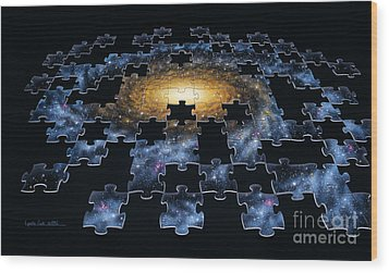 Galaxy Puzzle Wood Print by Lynette Cook