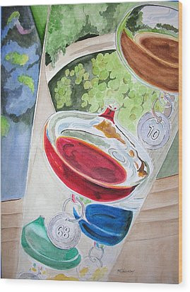 Wood Print featuring the painting Galileo Thermometer by Mary Kay Holladay