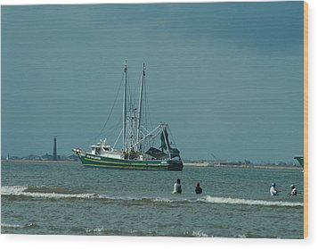 Galveston Fishing Wood Print
