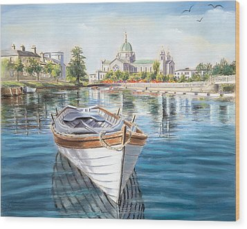 Galway Cathedral View  Wood Print by Vanda Luddy