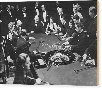 Gambling In Monte Carlo, On The French Wood Print by Everett
