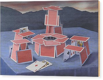 Game Of Cards  Wood Print by Glen Heberling