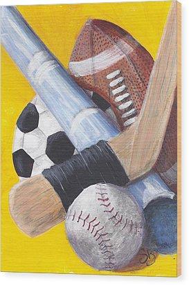 Game On Wood Print by Susan Bruner
