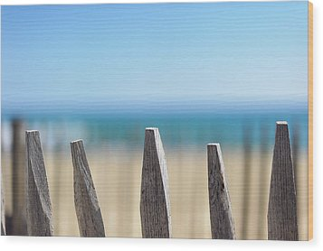 Ganivelles At Ste Maxime Beach, Golfe De St-tropez Wood Print by Alexandre Fundone