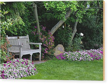 Wood Print featuring the photograph Garden Bench by Michelle Joseph-Long