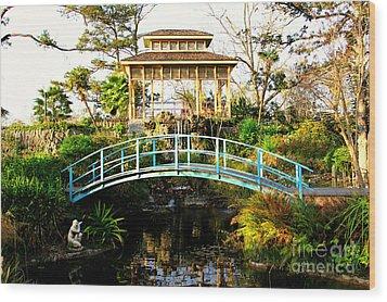 Garden Bridge Wood Print by Perry Webster
