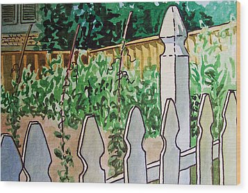 Garden Fence Sketchbook Project Down My Street Wood Print by Irina Sztukowski