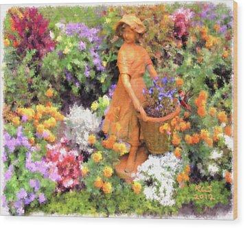 Garden Girl Wood Print