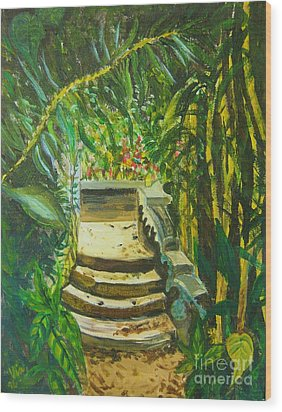 Wood Print featuring the painting Garden Passage by Judy Via-Wolff