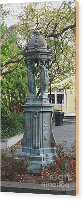 Wood Print featuring the photograph Garden Statuary In The French Quarter by Alys Caviness-Gober