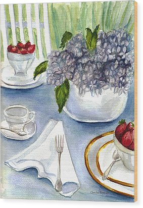 Wood Print featuring the painting Garden Tea Party by Clara Sue Beym