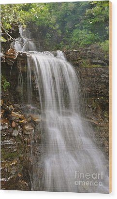 Wood Print featuring the photograph Garden Wall Waterfall by Johanne Peale