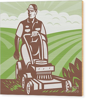Gardener Landscaper Riding Lawn Mower Retro Wood Print by Aloysius Patrimonio