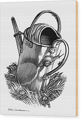 Gardening, Conceptual Artwork Wood Print by Bill Sanderson