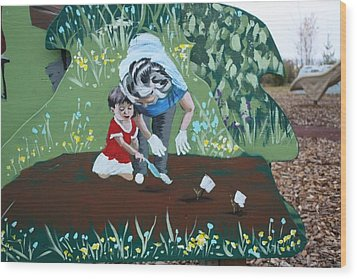 Gardening With Grandma Wood Print by Jan Swaren
