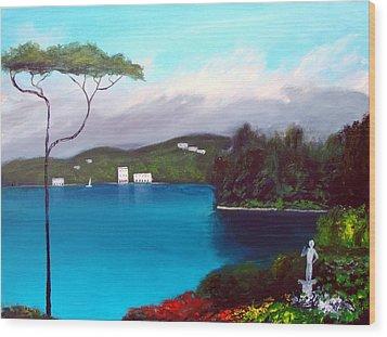 Gardens Of Lake Como Wood Print by Larry Cirigliano