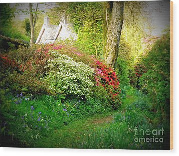 Gardens Of The Old Rectory Wood Print by Lainie Wrightson
