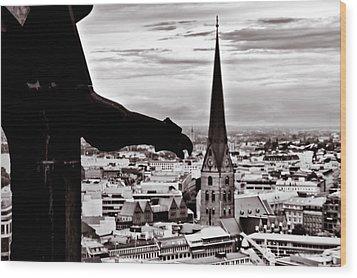 Wood Print featuring the photograph Gargoyle Over Hamburg 2 by Edward Myers