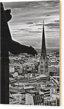 Wood Print featuring the photograph Gargoyle Over Hamburg by Edward Myers