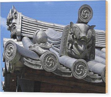 Gargoyles Of Horyu-ji Temple - Nara Japan Wood Print by Daniel Hagerman