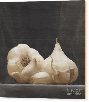 Wood Print featuring the digital art Garlics by Johnny Hildingsson