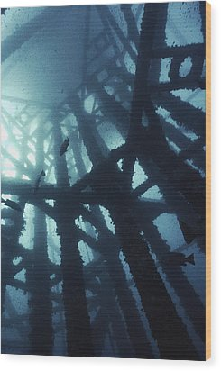 Gas Platform Support Tower Wood Print by Peter Scoones