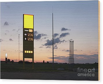 Gas Station Sign Wood Print by Jaak Nilson