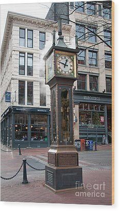 Wood Print featuring the digital art Gastown Steam Clock by Carol Ailles