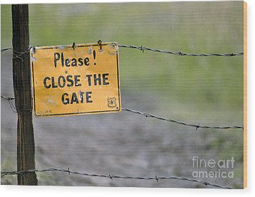 Gate Keeper Wood Print by Juls Adams
