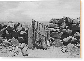 Gate Overlooking Lake Titicaca Wood Print by Darcy Michaelchuk