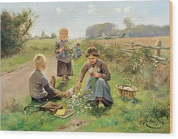 Gathering Flowers Wood Print by Joseph Julien