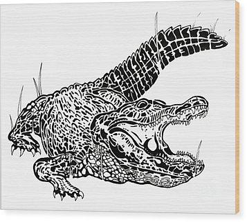 Gator Feed Wood Print by Jack Norton