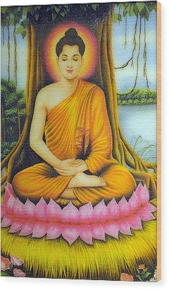 Gautama Buddha Wood Print by Created by handicap artists