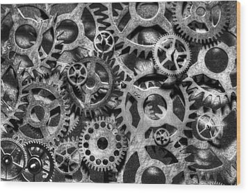 Gears Of Time Black And White Wood Print by David Paul Murray