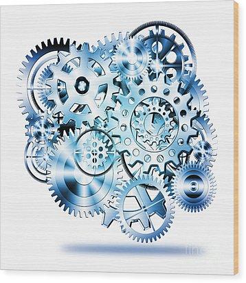 Gears Wheels Design  Wood Print by Setsiri Silapasuwanchai