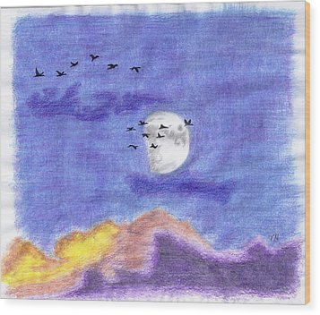 Geese And The Moon Wood Print by Tony  Nelson