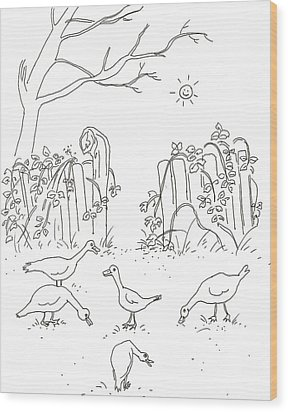 Geese In The Garden Wood Print by Vass Eva Rozsa