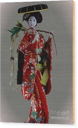 Geisha Elegance Wood Print by Al Bourassa