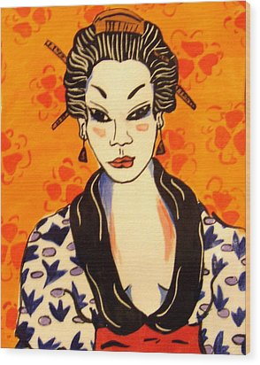 Geisha No. 1 Wood Print by Patricia Lazar