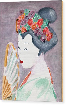 Wood Print featuring the painting Geisha by Paula Ayers