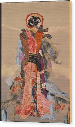 Geisha Wood Print by Roberta Baker