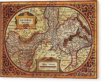 Geldria Ducatus Map Wood Print by Pg Reproductions