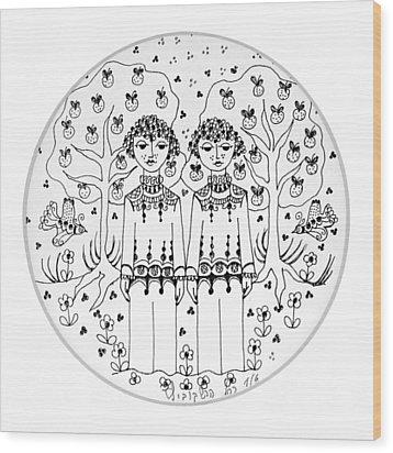 Gemini Wood Print by Rachel Hershkovitz