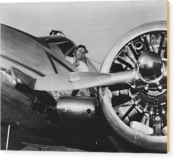 Gene Autry In His Airplane, 1955 Wood Print by Everett