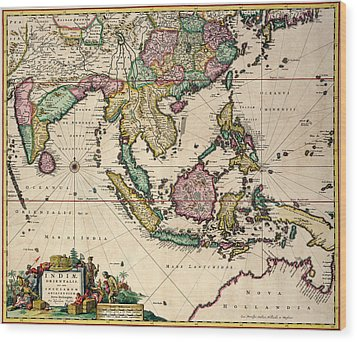 General Map Extending From India And Ceylon To Northwestern Australia By Way Of Southern Japan Wood Print by Nicolaes Visscher Claes Jansz